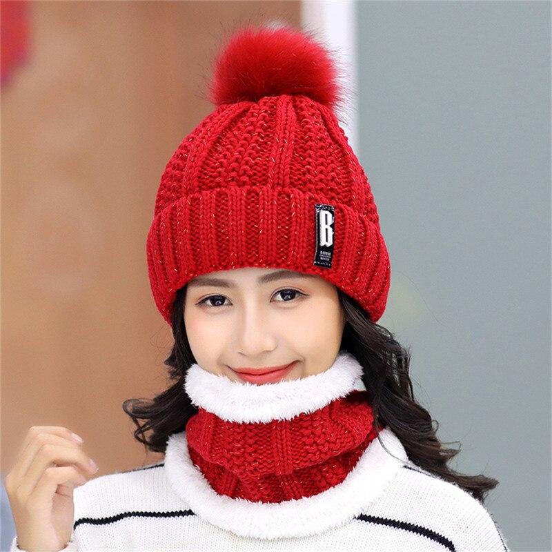 Корейские популярные зимние вязаные шапки, толстые теплые женские шапки бини, женские вязаные меховые шапки с буквенным принтом, шапки бини...