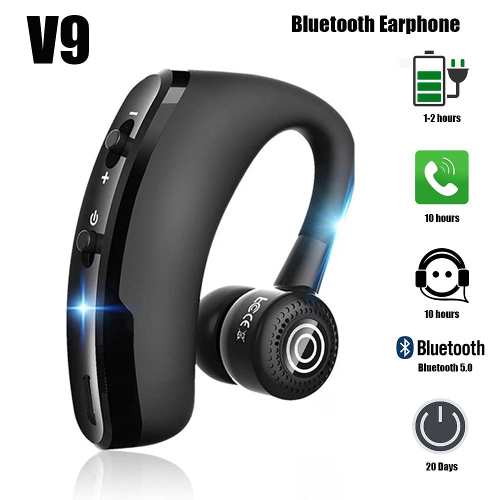 V9 Earphones Bluetooth Wireless Headphones Handsfree Headset Business with Mic Drive Call Sports Earphone for Smartphone