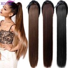 Capillaire synthétique queue de cheval lisse de 85CM, coiffures synthétiques très longues, résistantes à la chaleur, couvre-chef noir ou brun