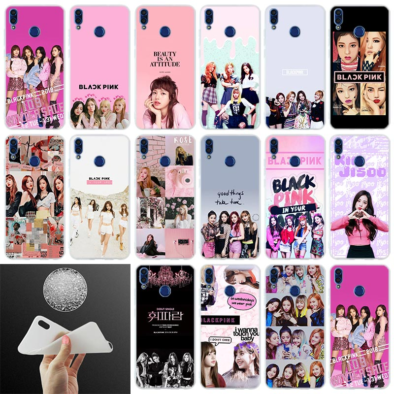 Cubierta trasera de silicona teléfono caso negro Rosa k-pop para Huawei Honor 10i 9i Lite 8a 8x max 8c 7x 7a pro 6x V20 jugar suave