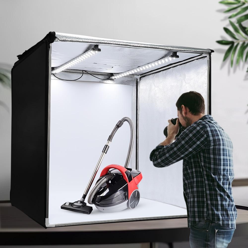 Travor 80 سنتيمتر LED صندوق الضوء المهنية المحمولة سوفت بوكس ثنائي اللون استوديو صندوق إضاءة الصور مع 5 ألوان خلفية اطلاق النار مجموعة أدوات الخيم...