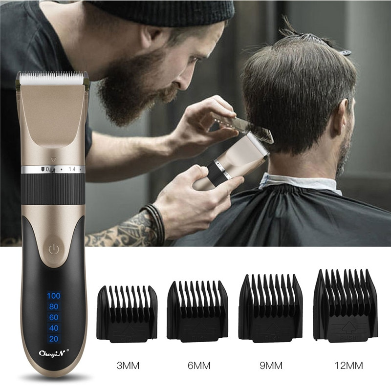 Professional Hair Clipper Men's Barber Beard Trimmer Rechargeable Hair Cutting Machine Ceramic Blade