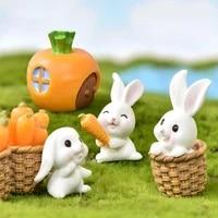Miniatures lapin paques lievre Animal Figurine resine artisanat Mini maison gateau decoration accessoires bureau bureau fee jardin