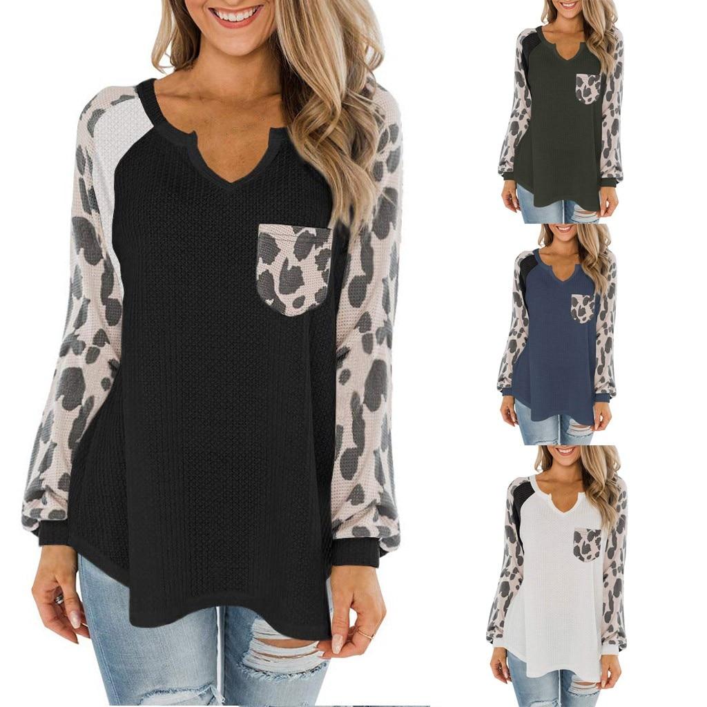 CHAMSGEND moda Casual de manga larga de gasa leopardo blusa mujeres Top Tees verano 2019 blusa mujer camisa ropa