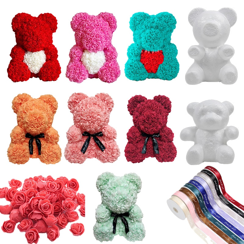 Artificial Rose Bear Foam Material Bear Toys Shape Rose Bear Craft Gift Flower DIY Bear Doll For Valentine's Day Present