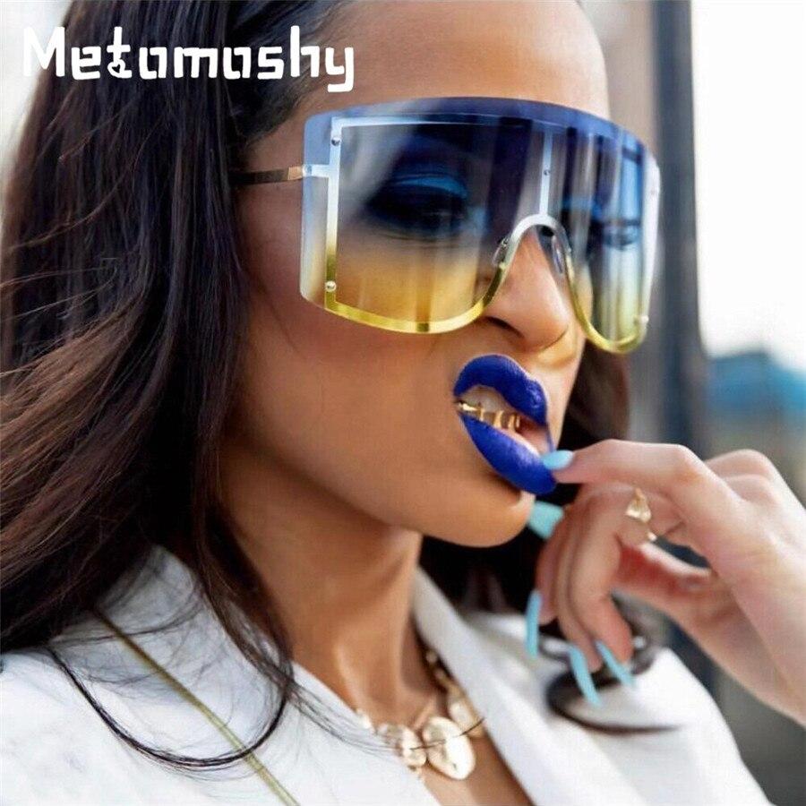 De moda de gafas de sol de las mujeres gradiente sin montura de gafas con marco grande gafas de sol mujer gafas de sol tonos 2019 de marca de diseñador