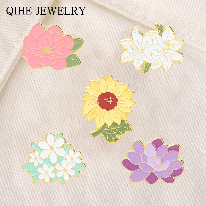 5 Style Flower Brooches for Women Fashion Sunflower Daisy Peony Enamel Lapel Pins Backpacks Badge Je