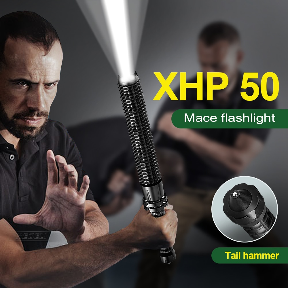 Tactical Flashlight Torch Telescopic Self Defense Most Powerful Portable  XHP50 Flashlights18650 Zoomable Rechargeable LED Light