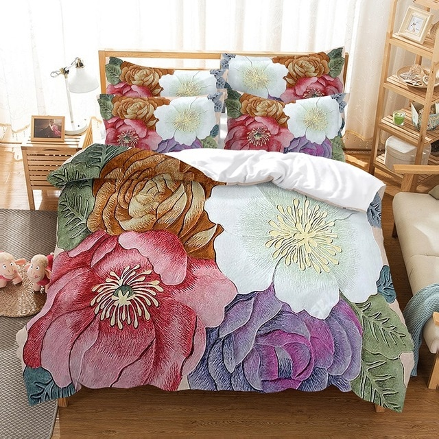 Red Pink Flower Floral Plant Comforter Bedding Set New 3D Print Adult Duvet Cover Sets Bed Linen Gift Queen King Double Size