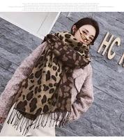 2020 new leopard scarf women winter cashmere scarves warm pashmina echarpe thicken blanket shawl tassel foulard bufandas mujer