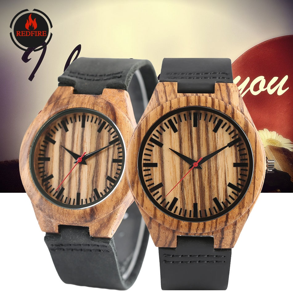 REDFIRE Classic Zebra-wood Couple Wood Watches Quartz Genuine Leather Watch Lovers Watches Gifts for Wedding Anniversary reloj wooden couple watch quartz leather band handmade walnut wood watches hollow dial valentine s day lover gift reloj para parej