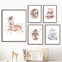 deer hedgehog owl bear hippo family moon star wall art canvas painting nordic posters and prints wall pictures kids room decor