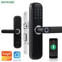 Wifi Tuya Smart Door Lock Fingerprint IC Card Password Keyless Phone APP Remotely Unlock Different Size Mortise Lock Black X3