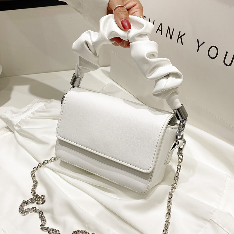 Solid color Pleated Small Tote bag 2020 Fashion New High-quality Leather Women's Designer Handbag Chain Shoulder Messenger Bag