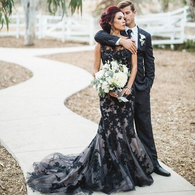 Apliques negro encaje vestido sirena para Novia tul negro Vestidos De boda...