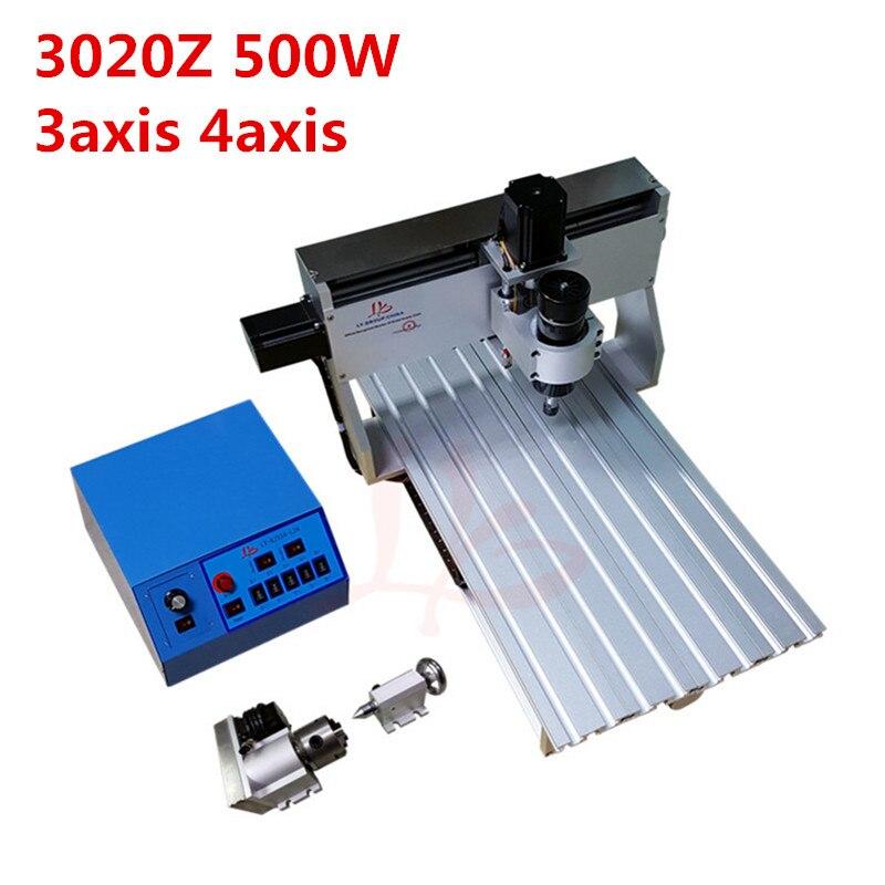 Mini DIY LY 3020Z 500W 3axis 4axis grabador de madera cnc Router grabado corte fresadora de perforación