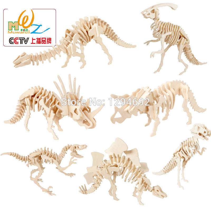 dinosaur animal series many chew toy Wooden Early education 3D Animal puzzles Dinosaur series Model Building Toys Children's Dinosaur puzzle Tyrannosaurus Rex toy
