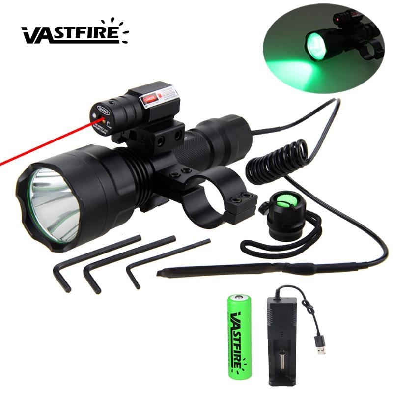 C8 LED Tactical Hunting Flashlight Rifle Airsoft Gun Light+Laser Dot Sight+Switch+20mm Rail Barrel Scope Mount+18650+Charger