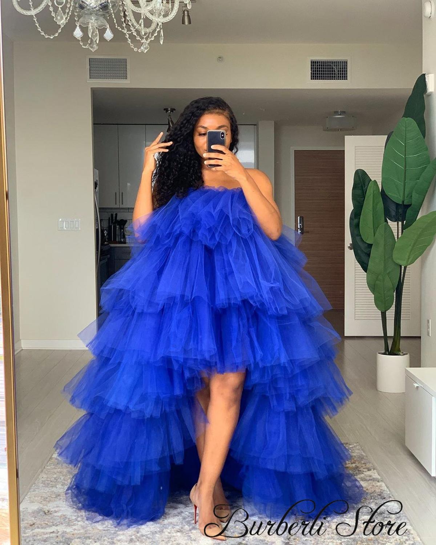 فستان أنيق من التول المنتفخ منخفض من التول للنساء Drsee Plus SizeTo للحفلات فستان جميل من التول باللون الأزرق الملكي توتو للنساء على شكل أوركيد