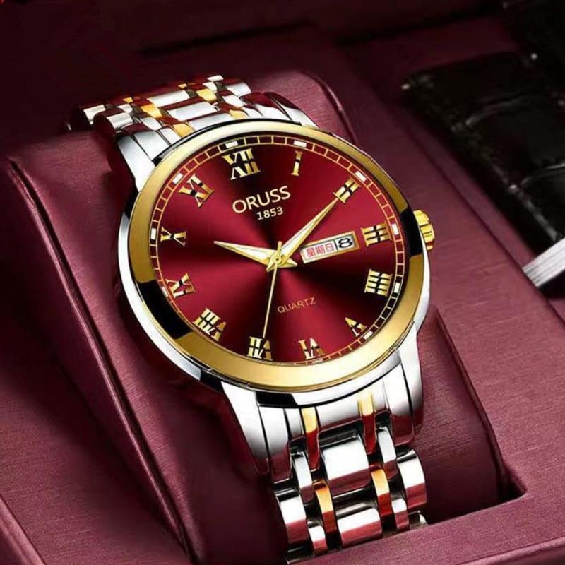 Top Brand Watch Men Stainless Steel Business Date Clock Waterproof Watches Mens Luxury Sport Quartz Wrist Watch Red Hour A4147
