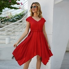 Midi Dress Evening Party Dresses Prom Fashion Women V Neck Knot Pure Color Mini Dress Beach Party Dr