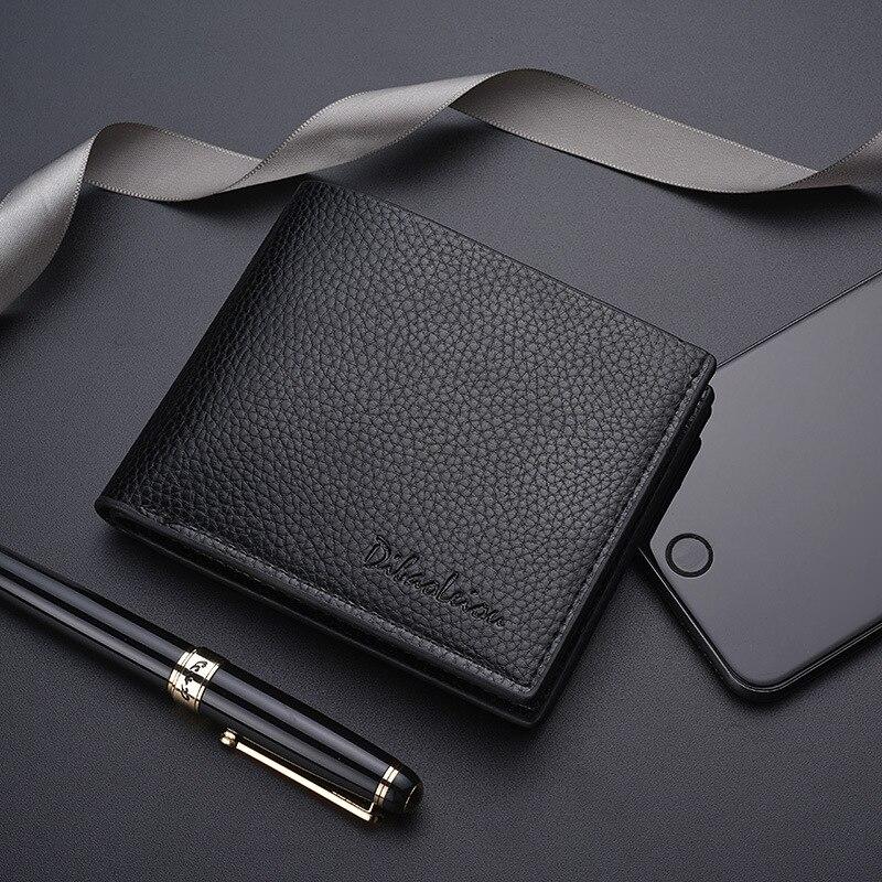 Мужской деловой кожаный кошелек двойного сложения, брендовые Роскошные короткие тонкие мужские кошельки, тонкие мужские бумажники для ден...