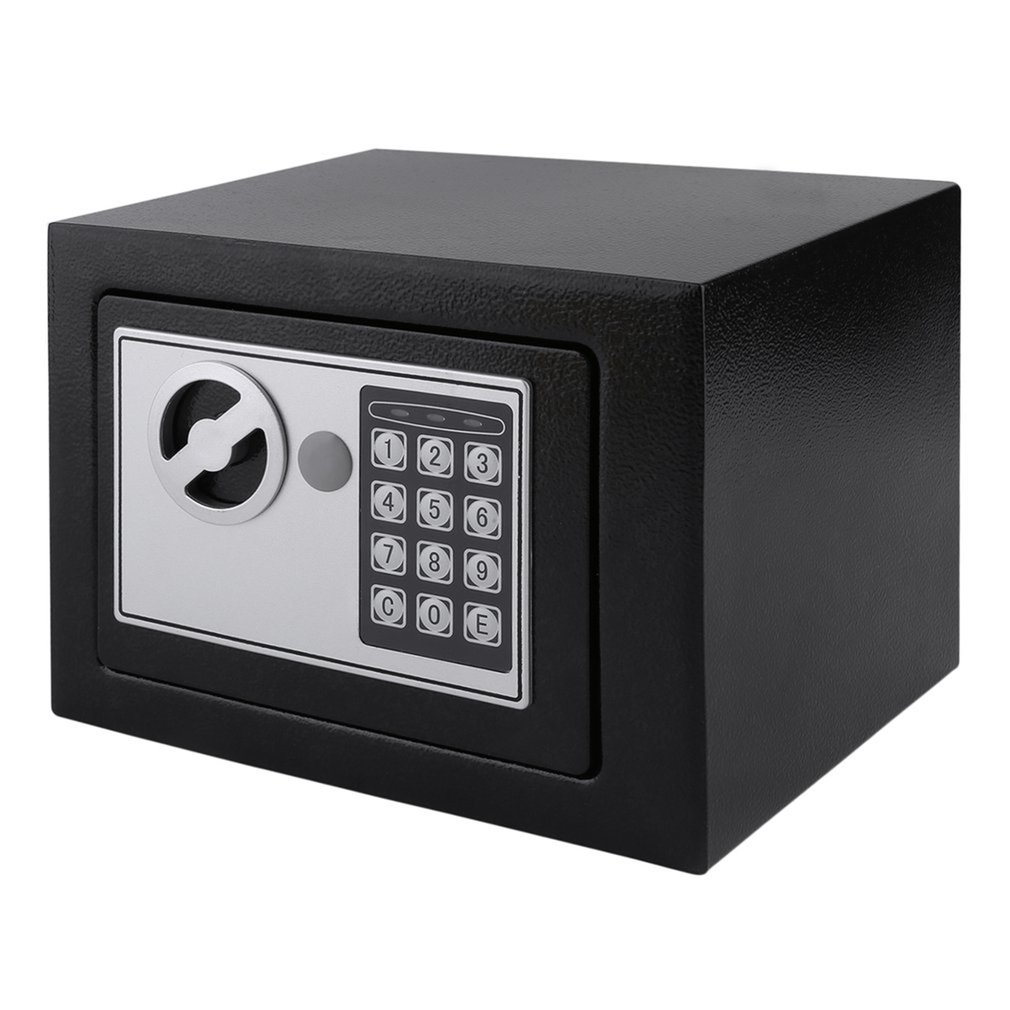 4.6L Strongbox Solid Steel Electronic Safe Box With Digital Keypad Lock Strongbox Mini Lockable Money Cash Jewelry Storage Box