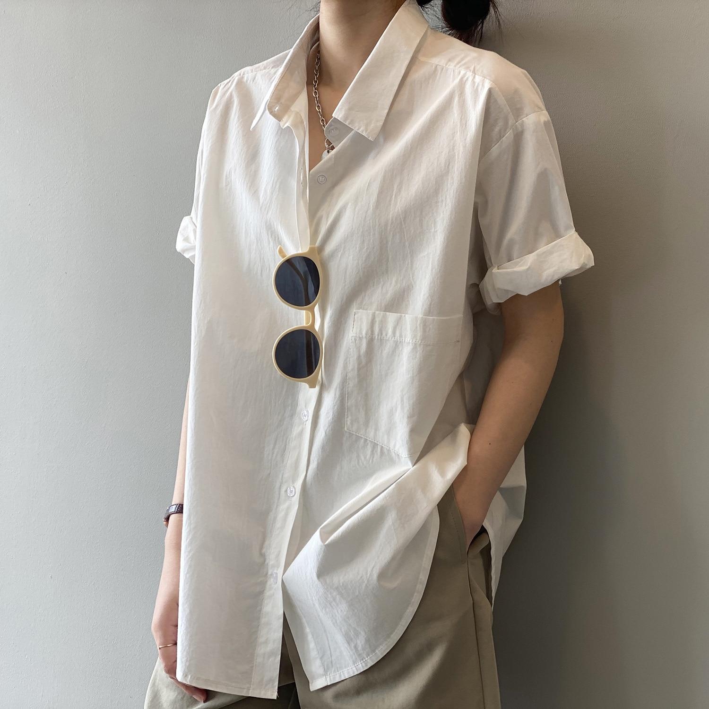 CMAZ Summer Cotton Short Sleeve Women's Shirt White Shirts Single Breasted Turn-down Collar Blouse 2