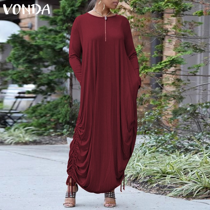 bohemian women maxi long dress 2019 vonda summer o neck long sleeve pattern print dresses casual loose party vestidos plus size VONDA Plus Size Women Dress 2021 Autumn Casual O Neck Long Sleeve Solid Color Maxi Dresses Bohemain Party Vestidos Femme 5XL