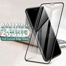 Vetro protettivo curvo 2000D per iphone 6 6S 7 8 Plus SE pellicola protettiva per iphone X XR XS 11 12 Pro Max custodia in vetro temperato