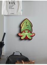 Octopus Cartoon Unieke Kids Klok Muur Sticker Ontwerp Slient Quartz Hout Reloj De Pared Kinderkamer Slaapkamer Home Decoratie