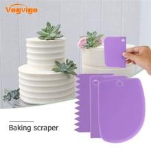 VOGVIGO 3 Teile/los Kuchen Schaber Rand Dekorieren Kochen Schneider Set Kamm & Icing Glatter für Brot Teig Fondant Werkzeug