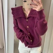Women Cable-Knit Sweater Coat Peter Pan Collar Solid Cardigan Ladies Winter Clothes Korean Cardigan