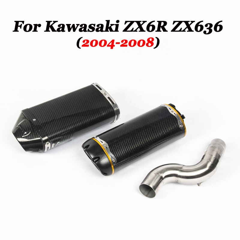 Slip on For Kawasaki ZX6R ZX636 2004-2008 Motorcycle Full System Exhaust Carbon Exhaust Muffler Pipe Escape Moto DB Kiler