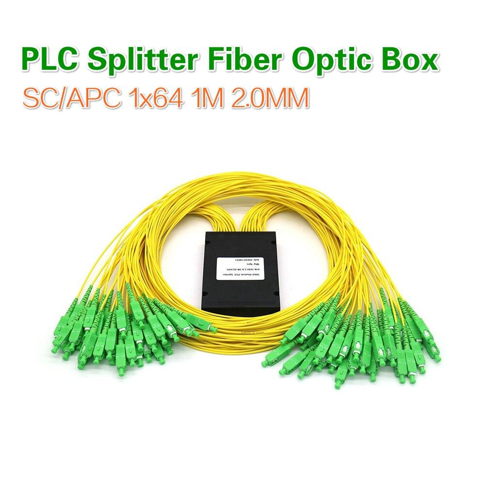 SC/APC 1x64 1 متر 2.0 مللي متر 1*64 مستو لايت الدائرة الفاصل-صندوق PLC الخائن صندوق FTTH الألياف البصرية ABS صندوق