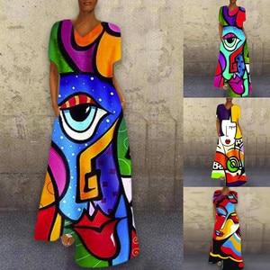 Maxi Dresses For Women Summer V-neck Women Fashion Print Casual Short Sleeve Dress Loose Plus Size Dresses Jurken Grote Maten