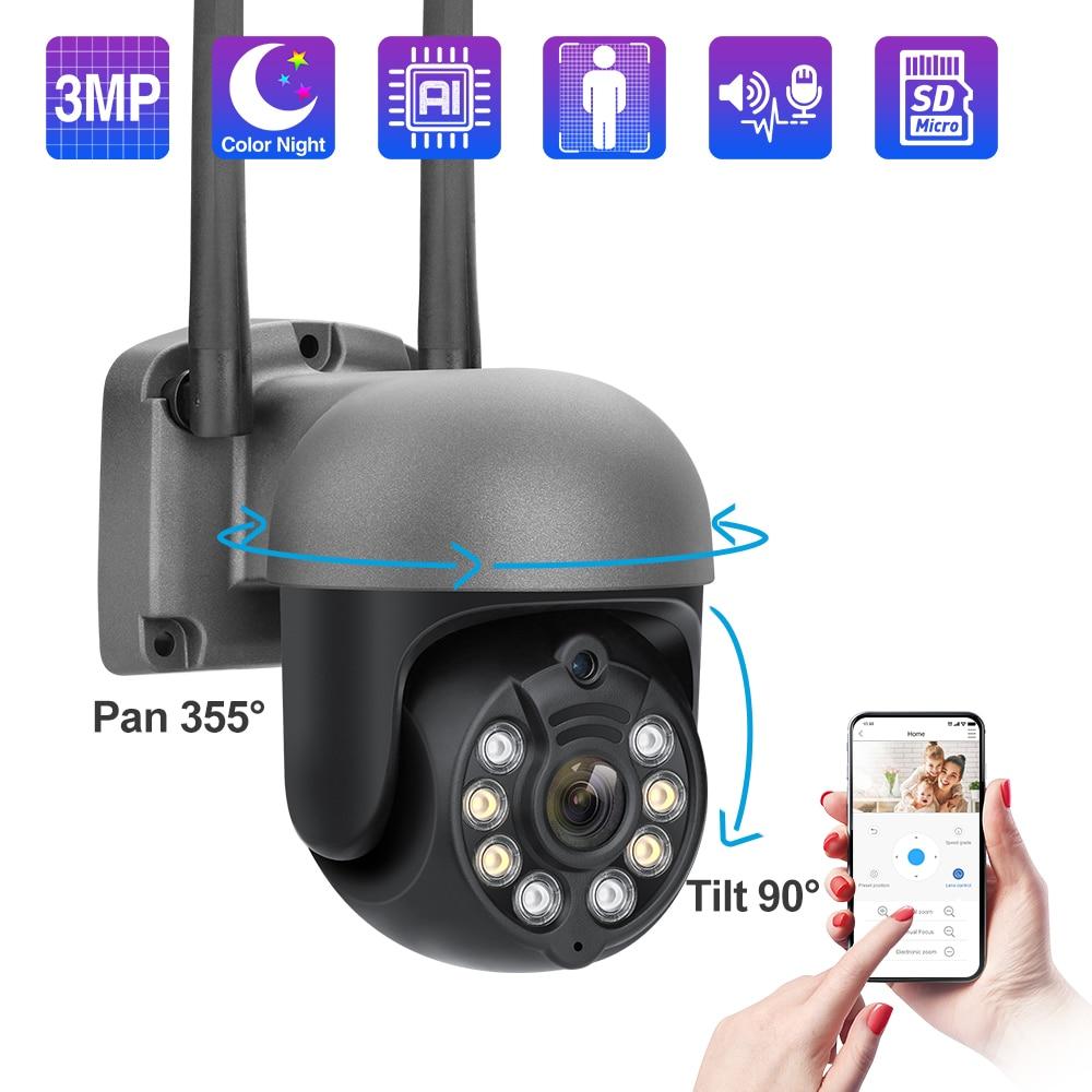 Techage 1080P 3MP كاميرا IP لاسلكية الأمن واي فاي كاميرا متحركة في الهواء الطلق اتجاهين الصوت اللون للرؤية الليلية السيارات تتبع CCTV الفيديو