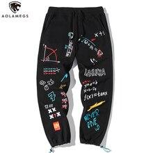 Aolamegs 바지 남성 힙합 귀여운 편지 인쇄 낙서 조깅 스선 팬츠 캐주얼 아늑한 느슨한 스포츠 트랙 바지 4XL Streetwear