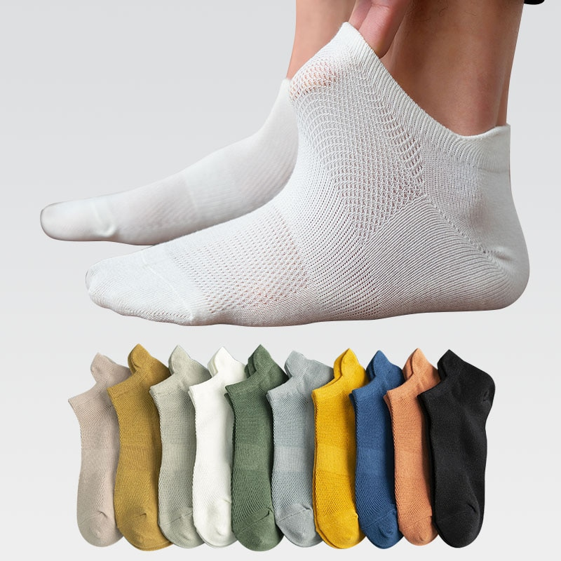 5 Pairs Man Cotton Short Socks Fashion Breathable Mesh Men Comfortable Solid Color Casual Ankle Sock Pack Male Street Fashions