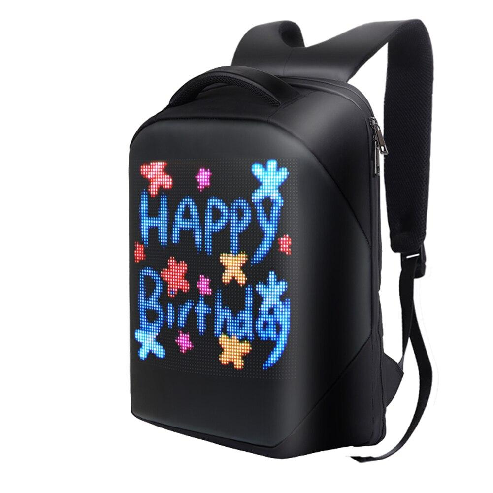 شاشة LED على ظهره اللاسلكية الأعمال السفر حقيبة مدرسية لأجهزة الكمبيوتر المحمول النساء الرجال في الهواء الطلق المشي لوحة واي فاي