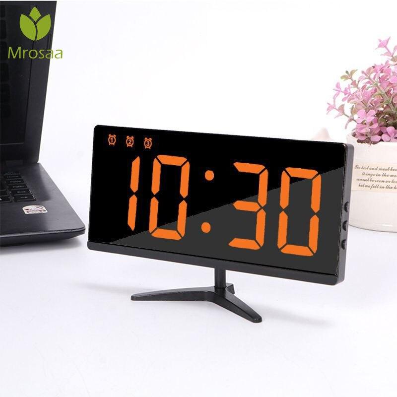 Horloge de Table numérique   Grand horloge numérique, pour miroir, alarme, multifonction, affichage température, heure nuit, lumière LCD