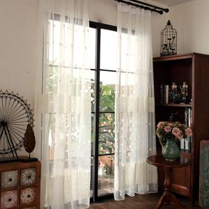 White Embroidered Lace Flowers Bedroom Window Sheer Drapes Romantic Window Screen European Curtain For Living Room MY287#40