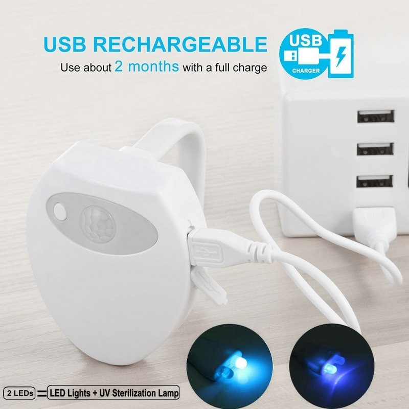 UV Sterilization USB Rechargeable LED Toilet Light Built In Battery 16 Color Waterproof Motion Sensor Bathroom Bowl