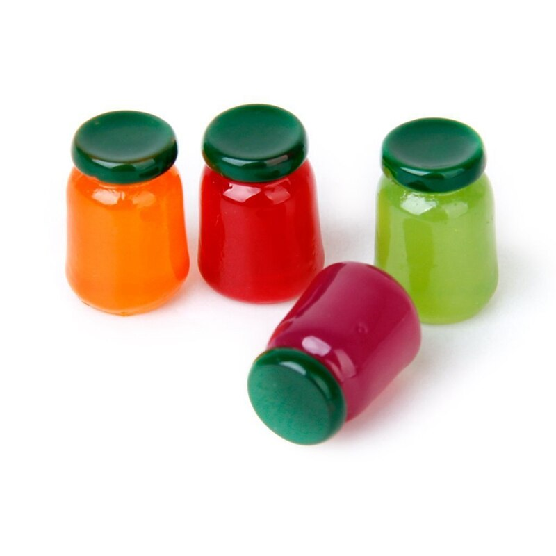 4 bottles of food flavor mix fruit jam Food Store 1/12 Miniature doll house