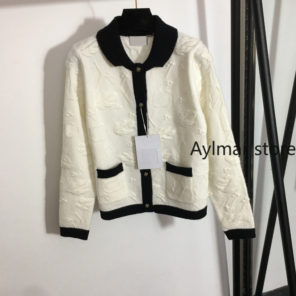 High quality 2021 autumn winter new women's three-dimensional pattern contrast Lapel long sleeve cardigan knitted coat sweater enlarge