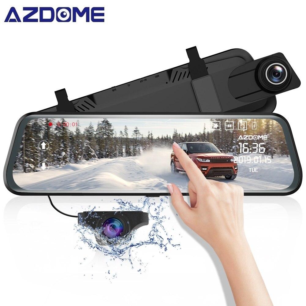 "AZDOME 10"" 1080P FHD Car DVR PG02 Mirror Dash Cam Streaming Media Touching ADAS Front & Rear Dual Lens Camera Night Vision Cams"