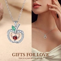 fruit apple necklaces pendants with zircon womens neck chain choker wedding fashion necklaces jewelry for women 2021 girlfriend