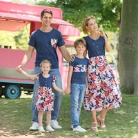 leader summer father mother girl boy family matching outfits mom girl baby patchwork flowers dress fashion cute clothes t shirts