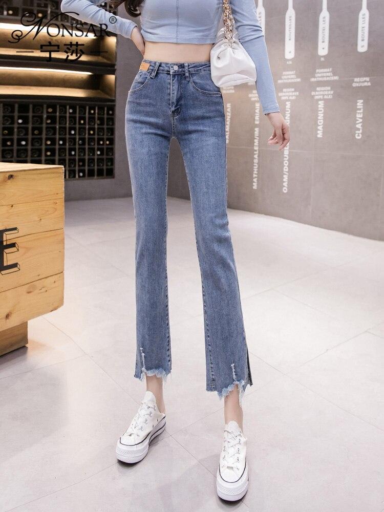 Весна 2021, корейский стиль, новинка, модные облегающие Укороченные прямые брюки с высокой талией, утягивающие брюки с разрезом и заусенцами