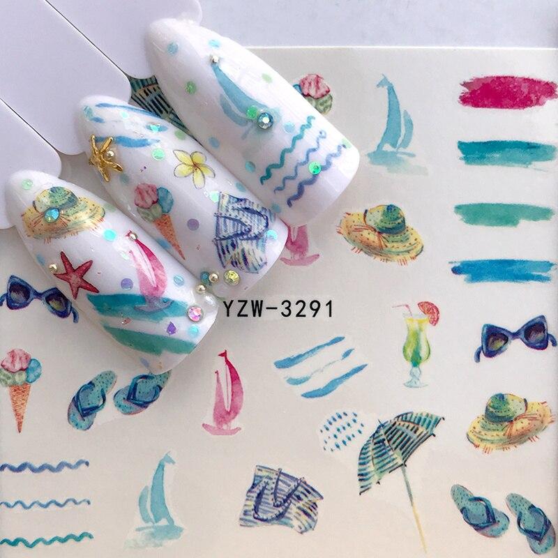 2020 nova folha de bordo 3d prego slider adesivo flor de natal verão seaside onda decalques dicas manicure arte do prego decorações